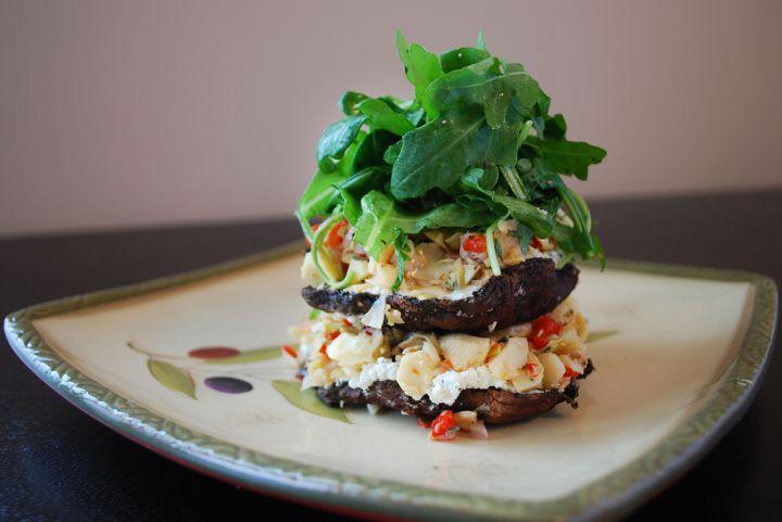 Portobello Stack With Artichokes, Red Pepper & Walnut Goat Cheese