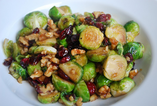 Brown Sugar Sprouts With Cranberries & Walnuts
