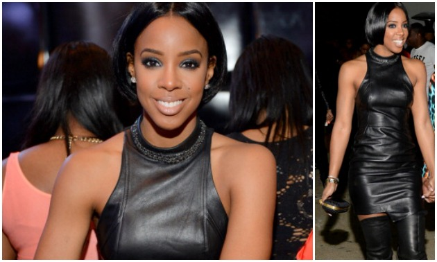 Kelly Rowland Birthday Party Leather Dress