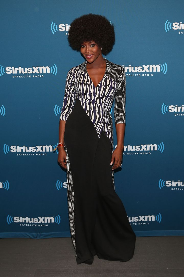 Naomi rocked a sophisticated DVF maxi dress for a visit to SiriusXM.