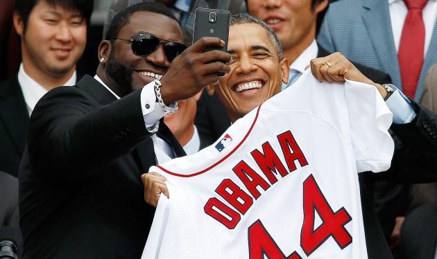 President Obama and David Ortiz selfiie