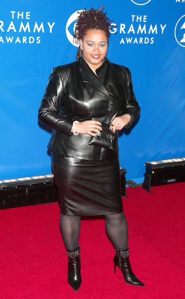 Jill Scott walks the red carpet at the 45th Annual GRAMMY Awards