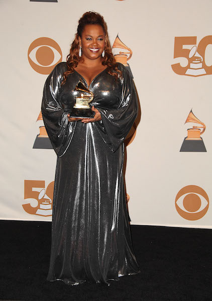 Jill Scott poses in the press room at the 50th Annual GRAMMY Awards