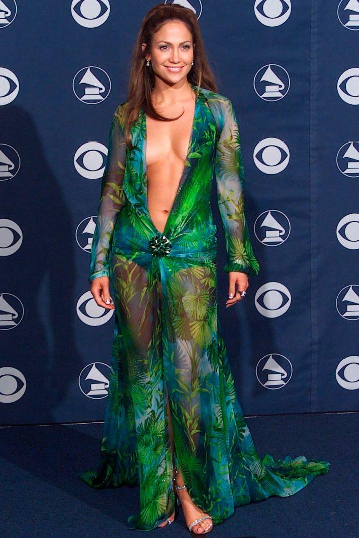 Jennifer Lopez in Versace at the 2000 Grammy Awards