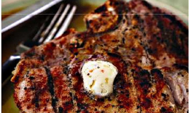 Grilled Pork T-Bones With BBQ Butter