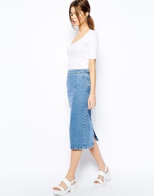 Zip Through Denim Skirt
