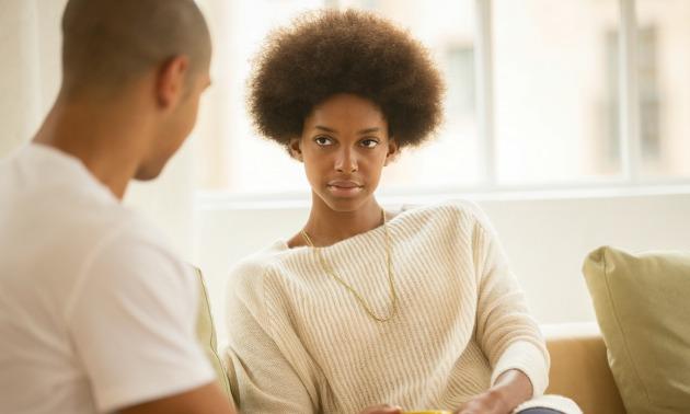 black-couple-talking