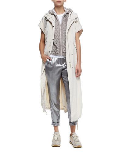 Hooded Short Sleeve Coat