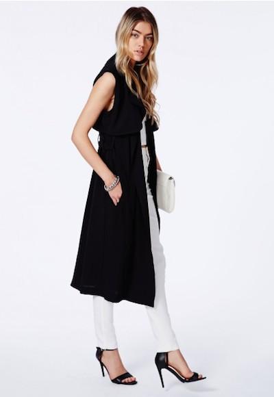 Black Sleeveless Trench Coat