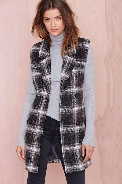 Plaid Sleeveless Coat