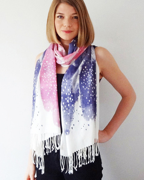 Artsy Modern Bonbi Forest Little Lovers Scarf in Berry
