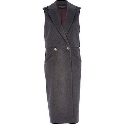 Dark Grey Sleeveless Coat