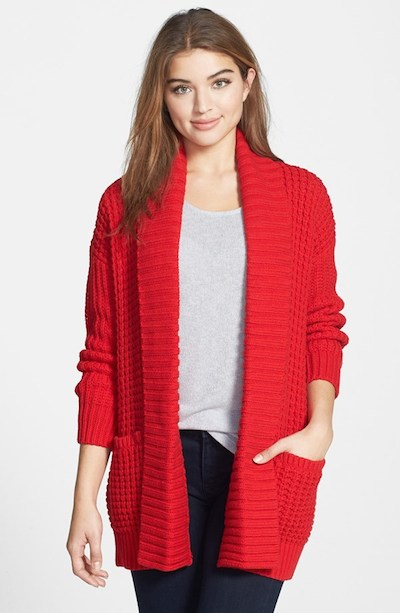 Bright Red Cardigan