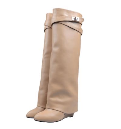 Wedge Knee Boots