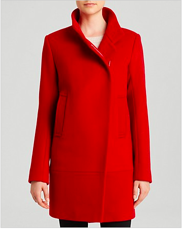 Red Asymmetrical Front Coat