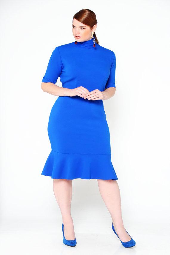 JIBRI Plus Size Mock Neck Pencil Dress w Ruffle