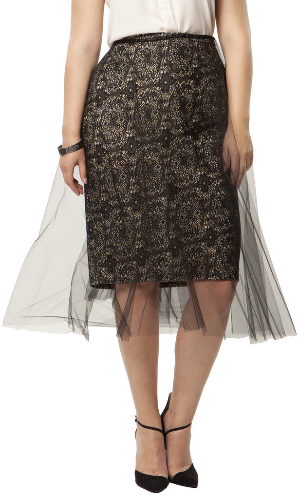 Anna Scholz Mounted Lace & Tulle Skirt