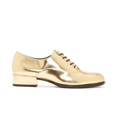 Gold Leather Oxfords