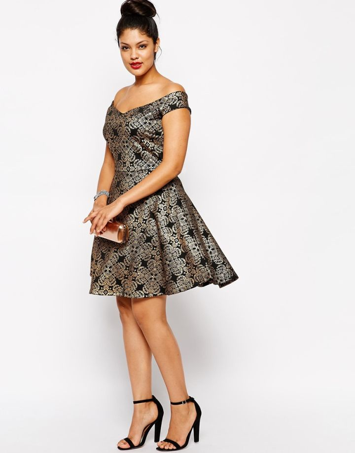 Pink Clover Metallic Brocade Bardot Skater Dress