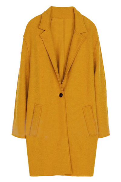 Single-Breasted Yellow Coat
