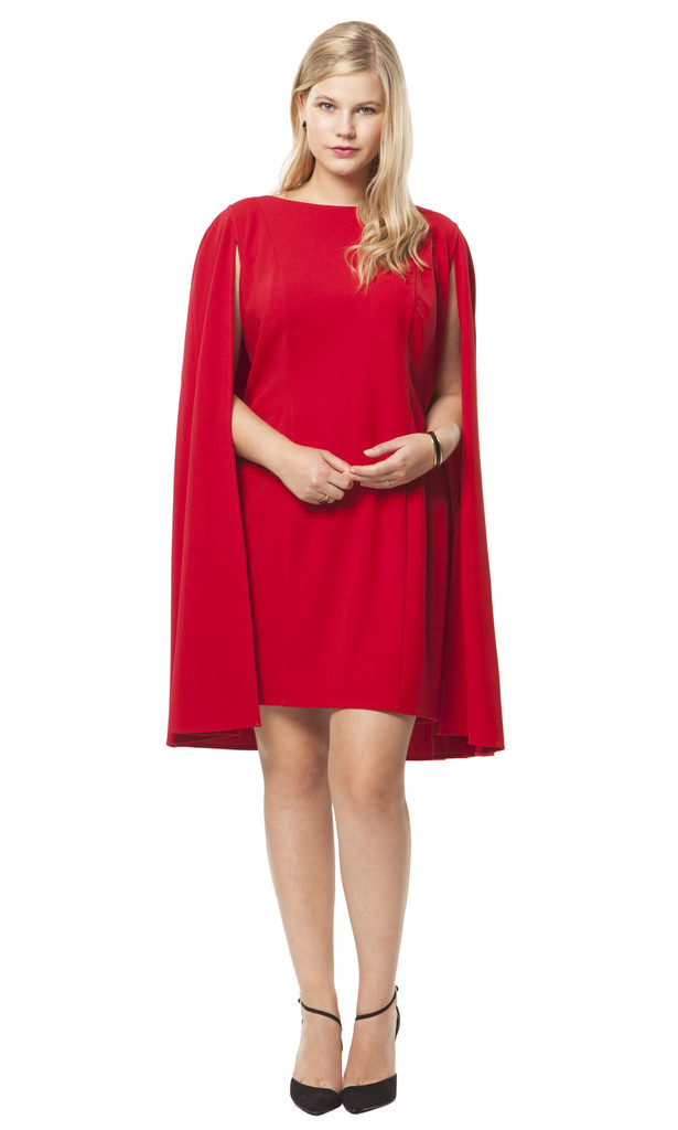 Adrianna Papell Structured Cape Dress in Red