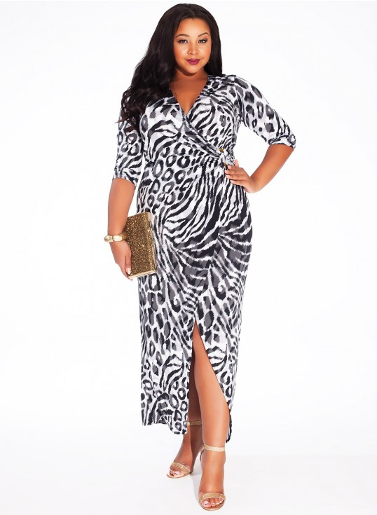 Igigi Yasmine Plus Size Dress in Concrete Cheetah