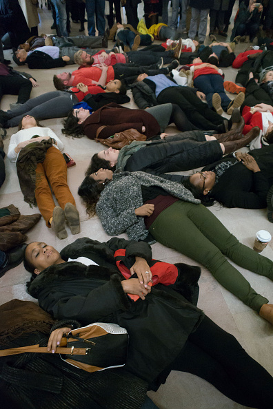 Protestors In NYC Demonstrating A Die-In