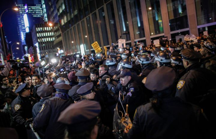 NYPD Officers Block Protestors