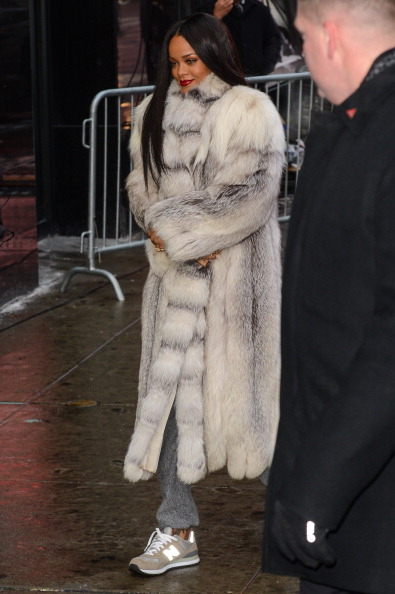 "Rihanna enters the ""Good Morning America"" taping at the ABC Times Square Studios"