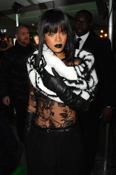 Rihanna attends the Jean Paul Gaultier show