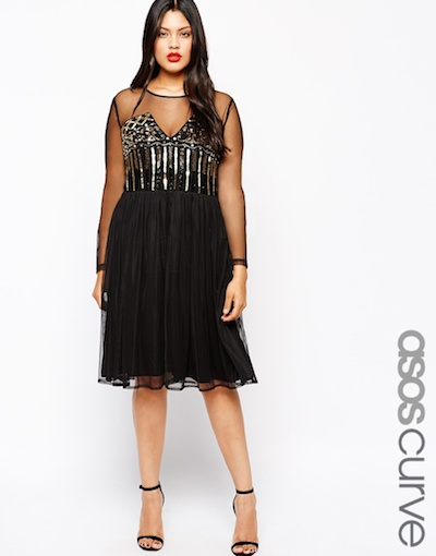 Skater Dress with Baroque Beading