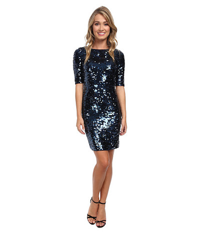 3/4 Sleeve Metallic Dress