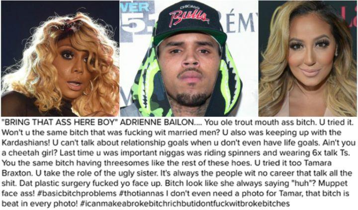 Chris Brown Goes In On Tamar & Adrienne Bailon