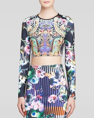 Printed Crop Top and Skirt