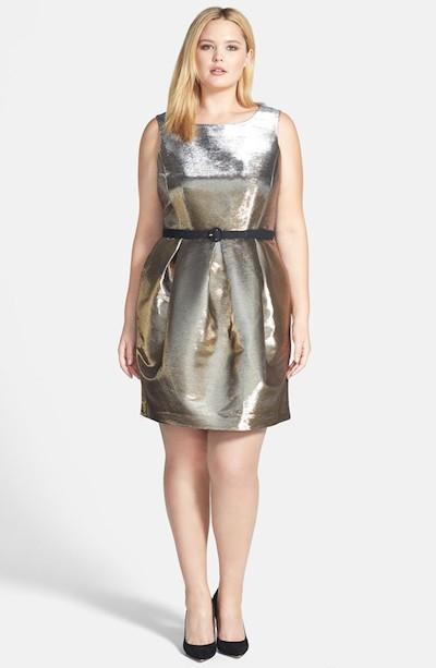 Belted Metallic Dress