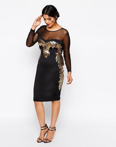 Baroque Insert Mesh Dress