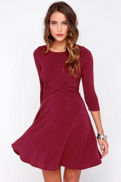 Burgundy A-Line Dress