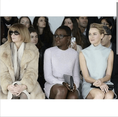 Lupita Nyong'o Front Row with Anna Wintour