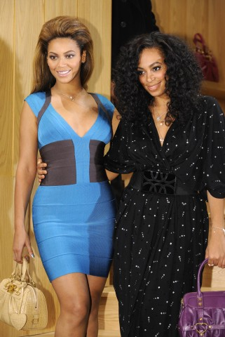 US pop singer Beyonce Knowles (L) and he