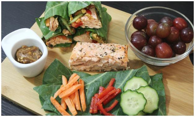 Thai Salmon Collard Green Wraps