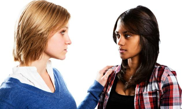 White & Black Girl Talking