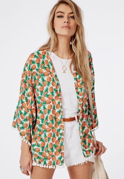 Pineapple Print Kimono