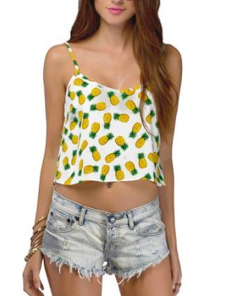 Pineapple Print Crop Top