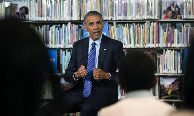 Obama In A Library