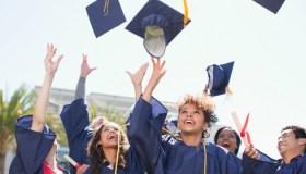 Graduates Throwing Caps