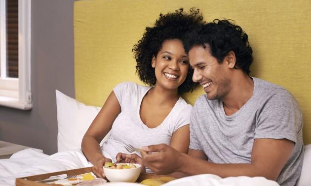 Enjoying breakfast in bed