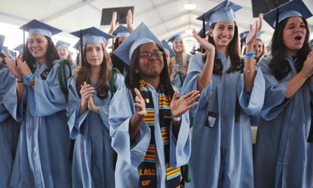 Graduating students applaud as US Presid