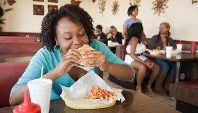Black woman eating