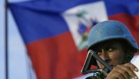 A Brazilian Army UN peacekeeper looks fr