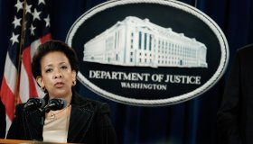 Attorney General Lynch And FBI Director Comey Hold News Conference At Justice Department